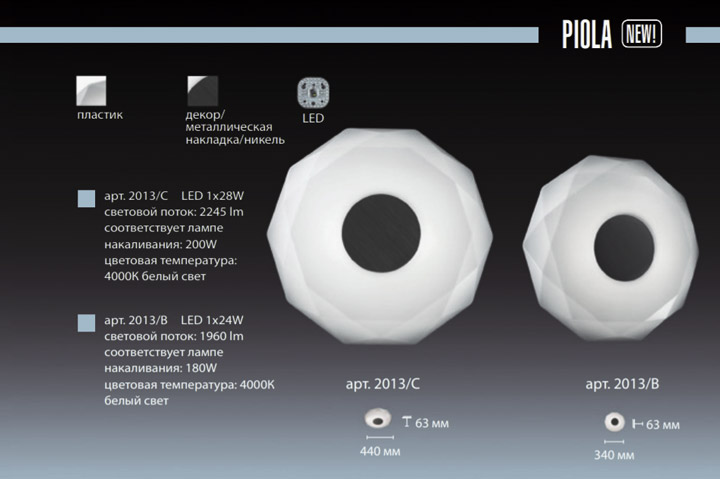 Серия Piola в каталоге Sonex