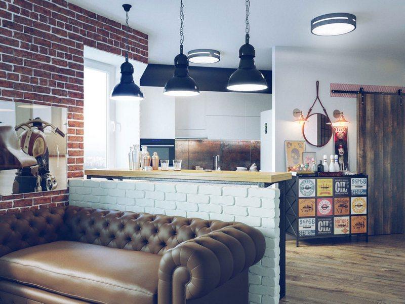 Подвесные светильники Лофт в интерьере кафе
