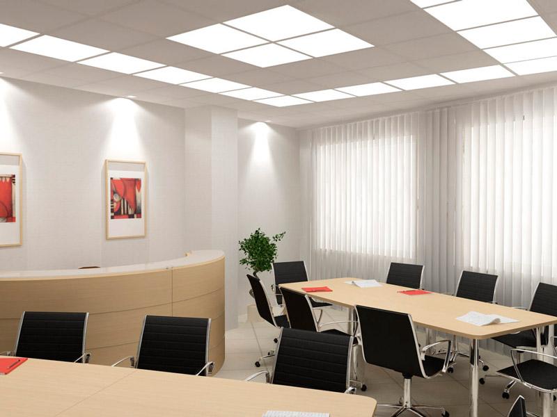 Офисный потолок со светильниками Армстронг