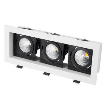 Встраиваемый светильник Arlight CL-KARDAN-S260x102-3x9W Warm (WH-BK, 38 deg)