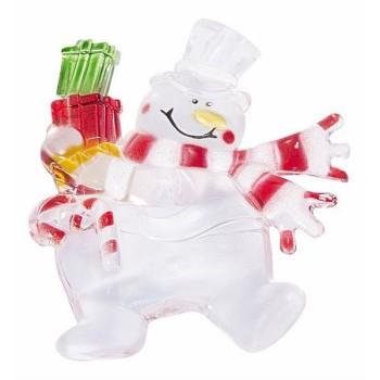 Панно световое (9x7.5 см) Снеговик с подарком 501-022