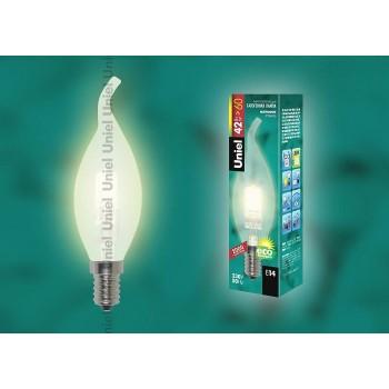 Лампа галогеновая 1082 E14 42Вт 230В  свеча на ветру матовая