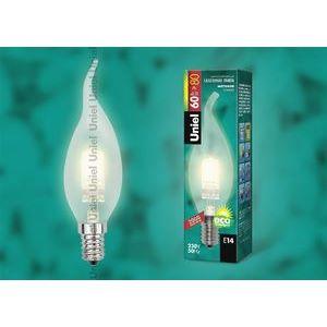 Лампа галогеновая 1084 E14 60Вт 230В  свеча на ветру матовая