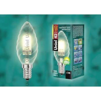 Лампа галогеновая 4113 E14 42Вт 230В  свеча на ветру шишка