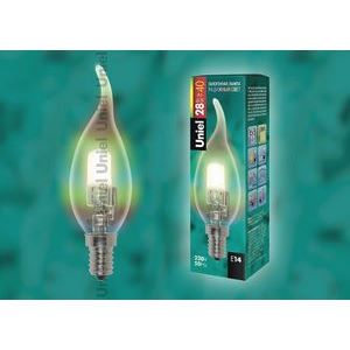 Лампа галогеновая 4733 E14 28Вт 230В  свеча на ветру