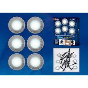 Набор из 6 встраиваемых светильников ULM-R06-0,5W*6/NW IP67 SILVER картон 8938