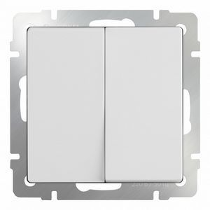 Выключатель проходной двухклавишный без рамки Werkel Белый WL01-SW-2G-2W