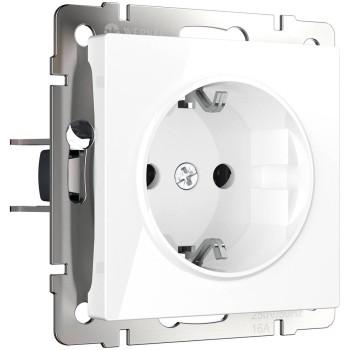 Розетка с заземлением и шторками, без рамки Werkel Белый WL01-SKGS-01-IP44