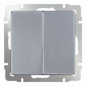 Выключатель проходной двухклавишный без рамки Werkel Серебряный WL06-SW-2G-2W