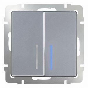 Выключатель проходной двухклавишный с подсветкой без рамки Werkel Серебряный WL06-SW-2G-2W - LED