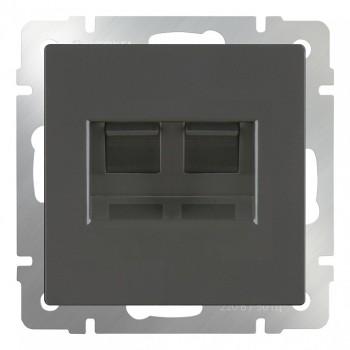 Розетка двойная RJ-11 и Ethernet RJ-45, без рамки Werkel Серо-коричневый WL07-RJ11+RJ45