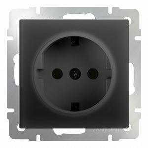 Розетка с заземлением без рамки Werkel Черный матовый WL08-SKG-01-IP20