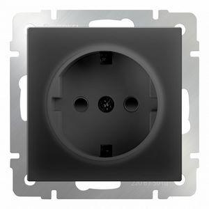 Розетка с заземлением и шторками, без рамки Werkel Черный матовый WL08-SKGS-01-IP44