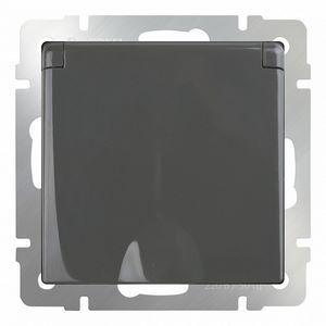 Розетка влагозащищенна с заземлением с крышкой со шторками, без рамки Werkel Серо-коричневый WL07-SKGSC-01-IP44