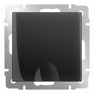 Розетка влагозащищенна с заземлением с крышкой со шторками, без рамки Werkel Черный матовый WL08-SKGSC-01-IP44