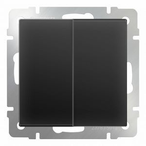 Выключатель двухклавишный без рамки Werkel Черный матовый WL08-SW-2G