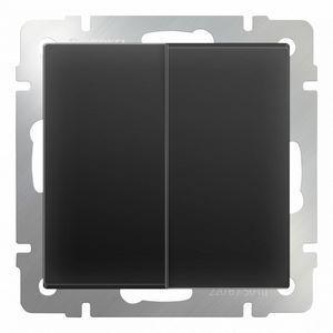 Выключатель проходной двухклавишный без рамки Werkel Черный матовый WL08-SW-2G-2W