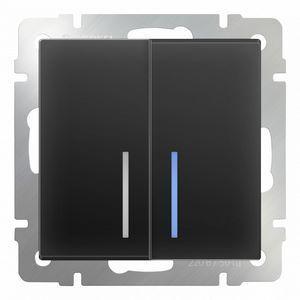 Выключатель проходной двухклавишный с подсветкой без рамки Werkel Черный матовый WL08-SW-2G-2W - LED