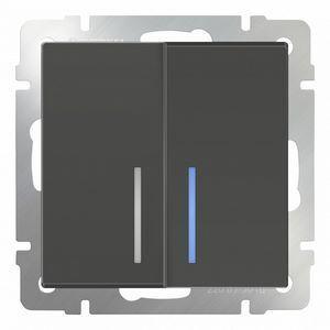 Выключатель двухклавишный с подсветкой без рамки Werkel Серо-коричневый WL07-SW-2G