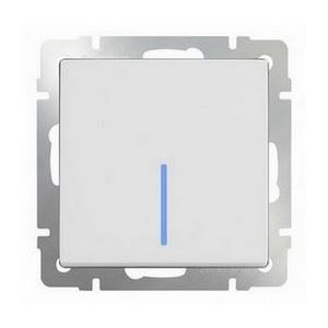 Выключатель одноклавишный с подсветкой без рамки Werkel Белый WL01-SW-1G - LED