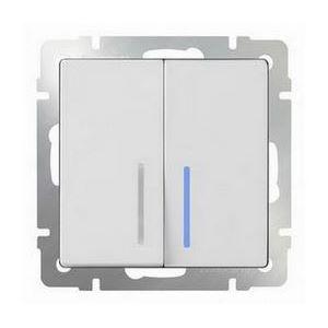 Выключатель проходной двухклавишный с подсветкой без рамки Werkel Белый WL01-SW-2G-2W - LED