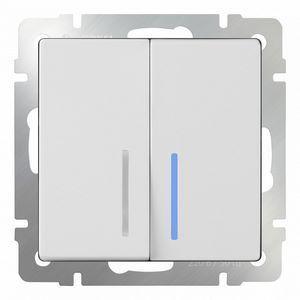 Выключатель двухклавишный с подсветкой без рамки Werkel Белый WL01-SW-2G - LED