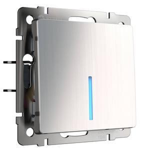 Выключатель одноклавишный с подсветкой без рамки Werkel Глянцевый никель WL02-SW-1G-LE