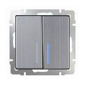 Выключатель проходной двухклавишный с подсветкой без рамки Werkel Глянцевый никель WL02-SW-2G-2W - LED