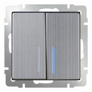 Выключатель двухклавишный с подсветкой без рамки Werkel Глянцевый никель WL02-SW-2G - LED