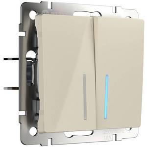 Выключатель двухклавишный с подсветкой без рамки Werkel Слоновая кость WL03-SW-2G - LED -ivory