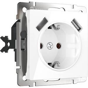 Розетка с заземлением, шторками и 2хUSB, без рамки Werkel Белый WL01-SKGS-USBx2-IP20