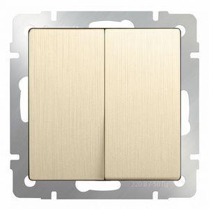 Выключатель проходной двухклавишный без рамки Werkel Шампань рифленый WL10-SW-2G-2W