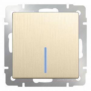 Выключатель одноклавишный с подсветкой без рамки Werkel Шампань рифленый WL10-SW-1G - LED