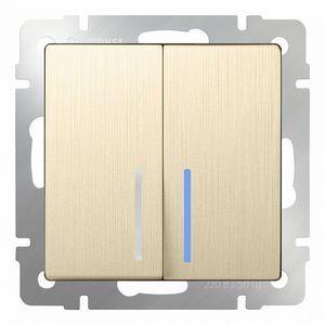 Выключатель проходной двухклавишный с подсветкой без рамки Werkel Шампань рифленый WL10-SW-2G-2W - LED