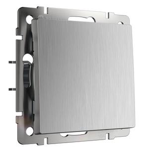 Выключатель одноклавишный без рамки Werkel Серебряный рифленый WL09-SW-1G