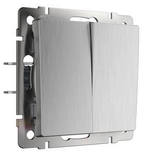 Выключатель двухклавишный без рамки Werkel Серебряный рифленый WL09-SW-2G