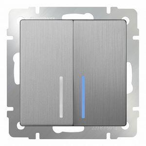 Выключатель проходной двухклавишный с подсветкой без рамки Werkel Серебряный рифленый WL09-SW-2G-2W - LED