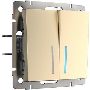 Выключатель проходной двухклавишный с подсветкой без рамки [70x70x36] WL11 a040922